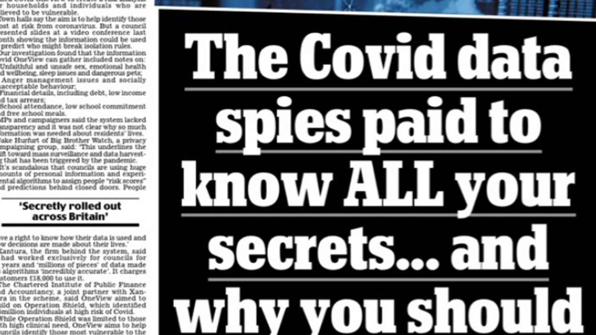 Daily Mail — Councils using huge amounts of highly personal data and predictive analytics to create Covid risk scores